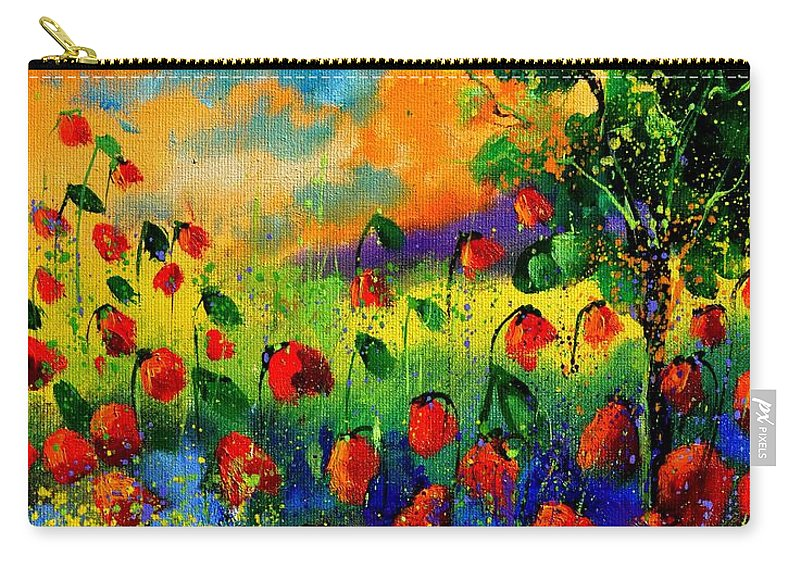 Flowers Carry-all Pouch featuring the painting Red Poppies 45150 by Pol Ledent