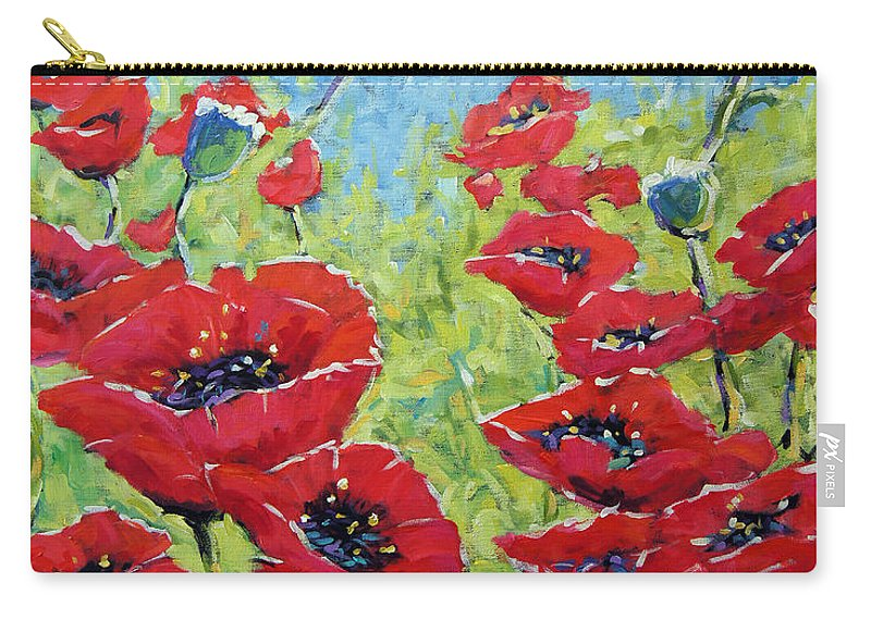 Canadian Floral Scene Created By Richard T Pranke Carry-all Pouch featuring the painting Red Poppies By Prankearts by Richard T Pranke