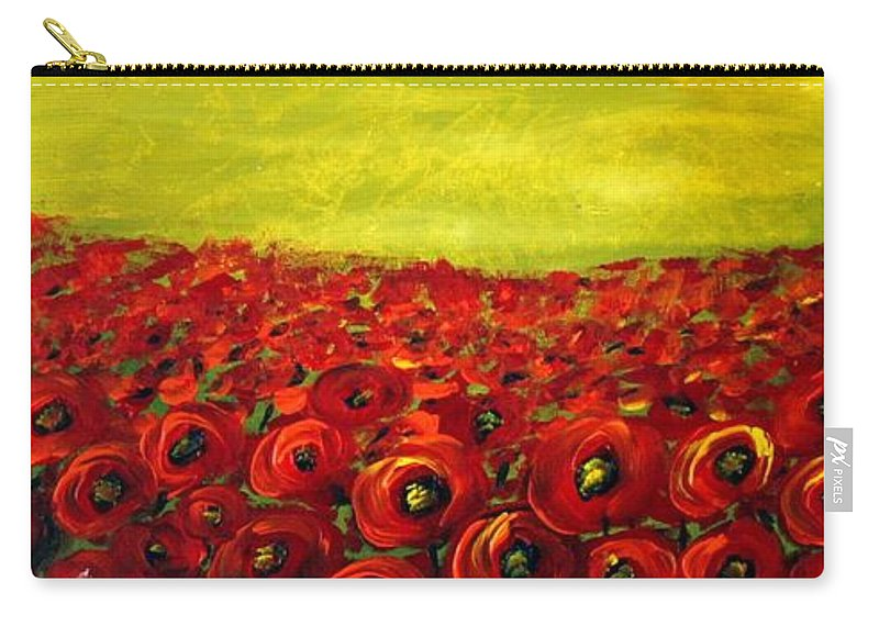 Flowers Carry-all Pouch featuring the painting Red Poppies Field by Luiza Vizoli