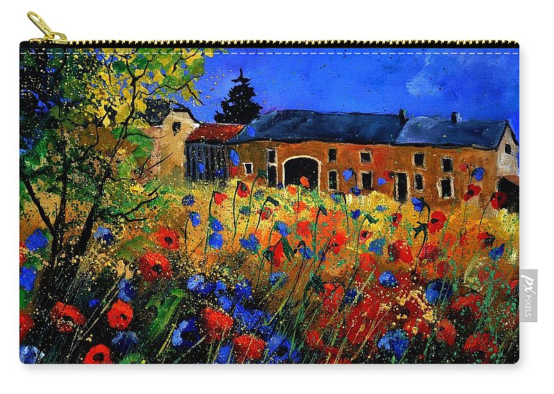 Flowers Carry-all Pouch featuring the painting Red Poppies In Houroy by Pol Ledent
