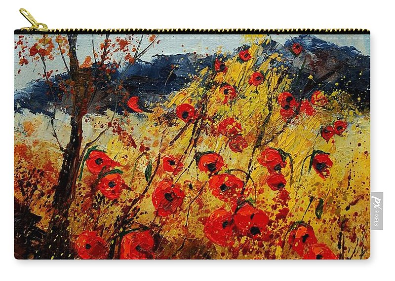 Poppies Carry-all Pouch featuring the painting Red Poppies In Provence by Pol Ledent
