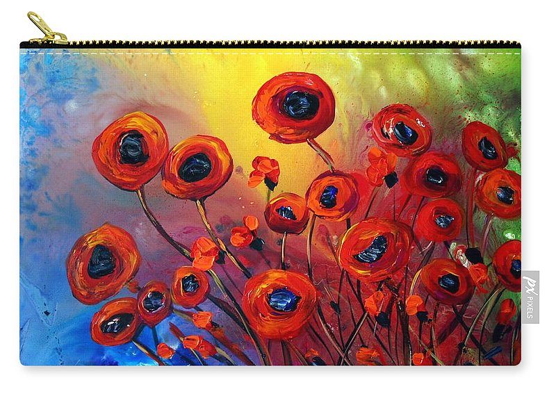 Flowers Carry-all Pouch featuring the painting Red Poppies In Rain by Luiza Vizoli