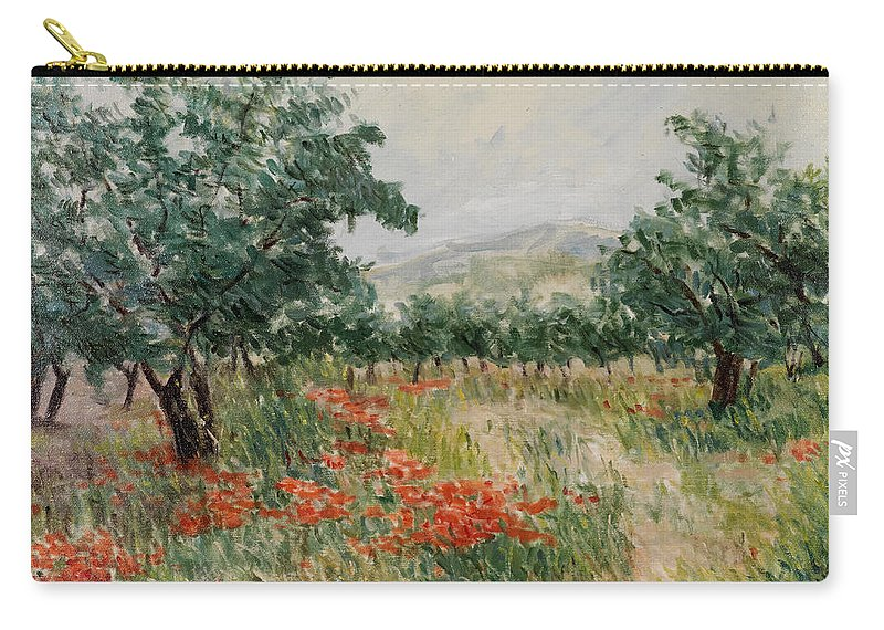 Olive Trees Carry-all Pouch featuring the painting Red Poppies In The Olive Garden by Gonul Engin YILMAZ
