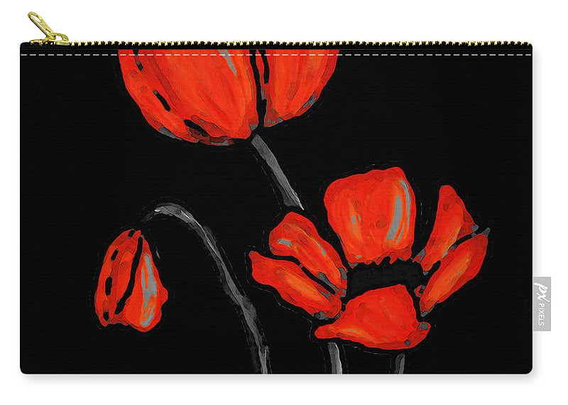 Red Carry-all Pouch featuring the painting Red Poppies On Black By Sharon Cummings by Sharon Cummings