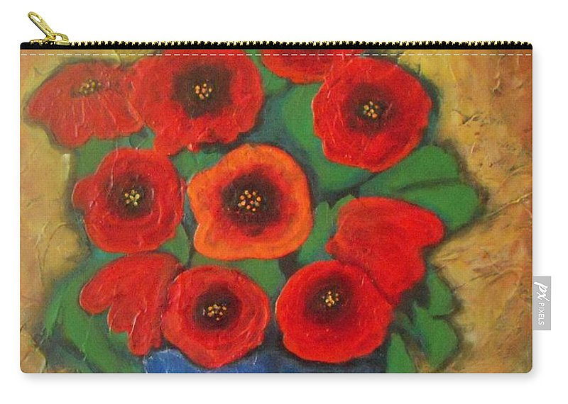 Poppies Carry-all Pouch featuring the painting Red Poppies In Blue Vase by Vesna Antic