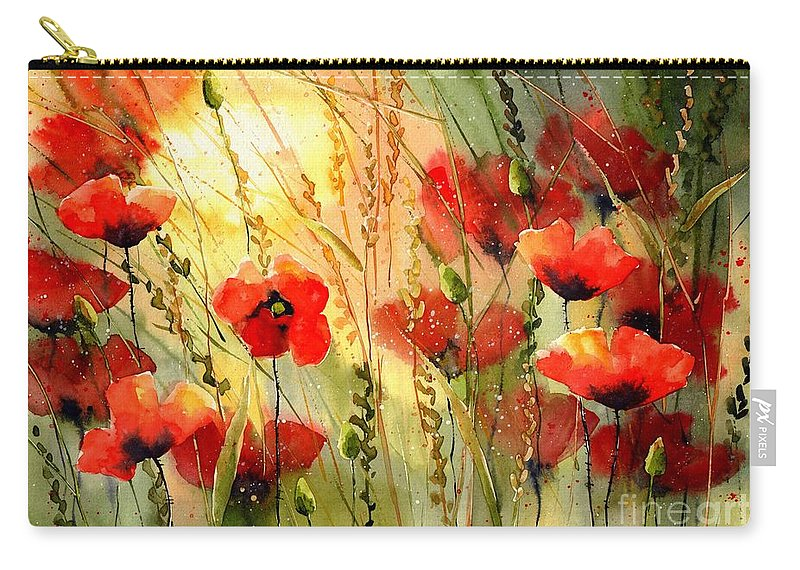 Red Carry-all Pouch featuring the painting Red Poppies Watercolor by Suzann Sines