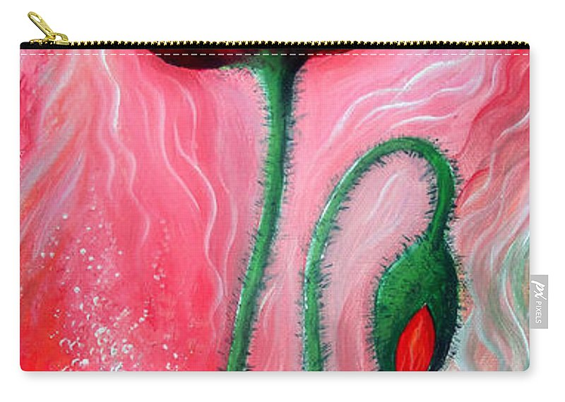 Poppy Carry-all Pouch featuring the painting Red Poppy Flower. Pink Sunset by Sofia Metal Queen