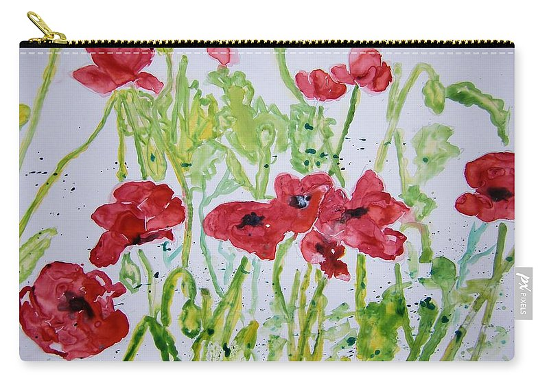 Poppy Carry-all Pouch featuring the painting Red Poppy Flowers by Derek Mccrea