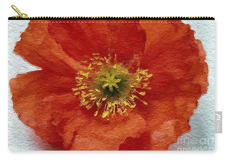Poppy Carry-all Pouch featuring the mixed media Red Poppy by Linda Woods