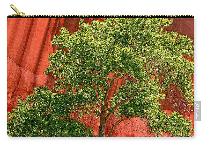 Tree Carry-all Pouch featuring the photograph Red Rock Green Tree by Joe Kozlowski