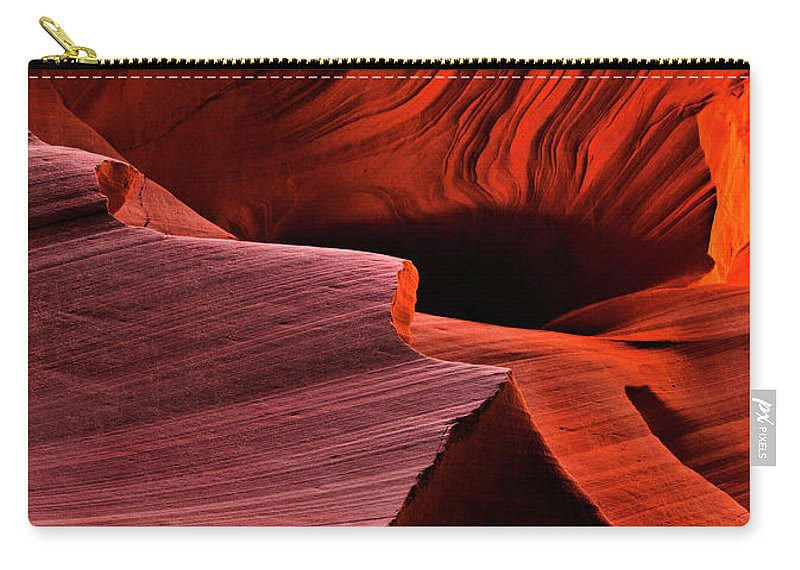 Antelope Canyon Carry-all Pouch featuring the photograph Red Rock Inferno by Mike Dawson