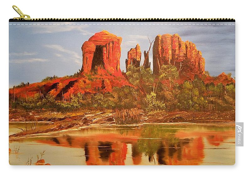Rocks Carry-all Pouch featuring the painting Red Rock by Patrick Trotter