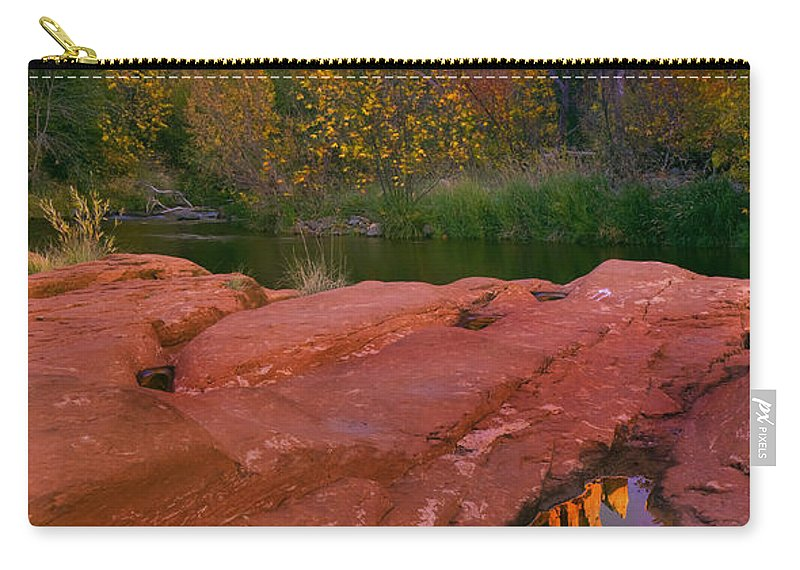 Reflection Carry-all Pouch featuring the photograph Red Rock Reflection by Mike Dawson