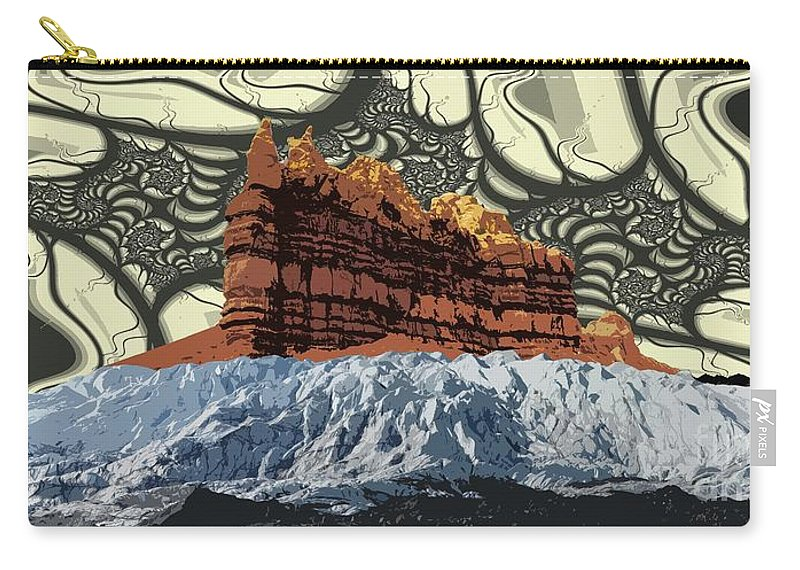 Glacier Art Carry-all Pouch featuring the digital art Red Rock White Ice by Ron Bissett