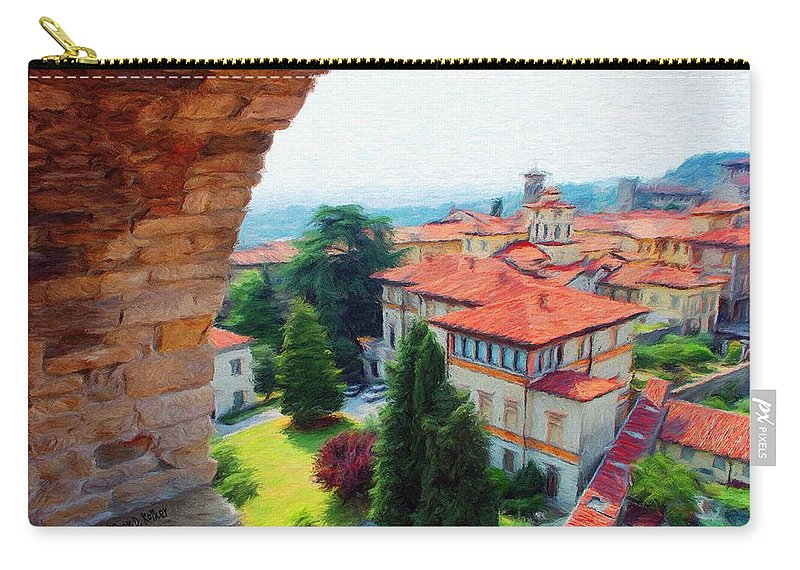 Architecture Carry-all Pouch featuring the painting Red Roofs by Jeffrey Kolker