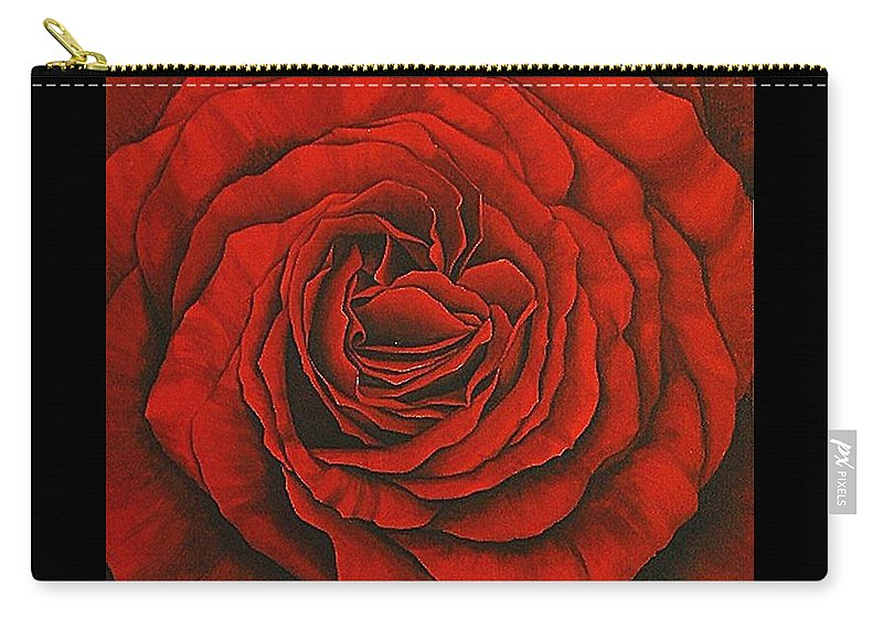 Red Carry-all Pouch featuring the painting Red Rose II by Rowena Finn