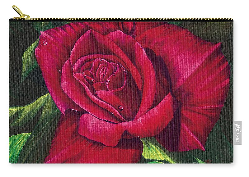 Rose Carry-all Pouch featuring the painting Red Rose by Nancy Cupp