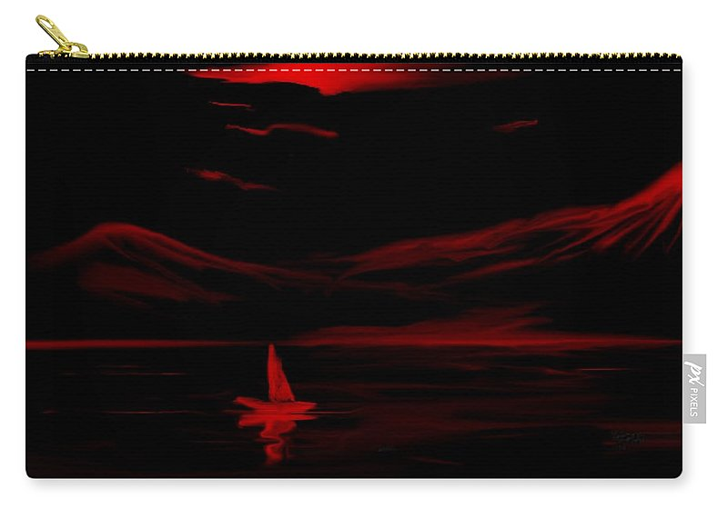 Digital Art Carry-all Pouch featuring the digital art Red Sail by David Lane