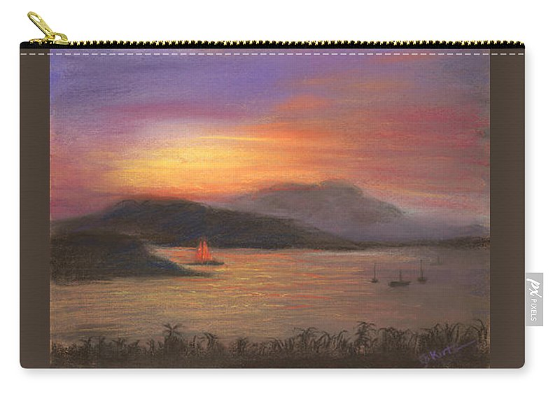 Water Carry-all Pouch featuring the painting Red Sails by Gail Kirtz