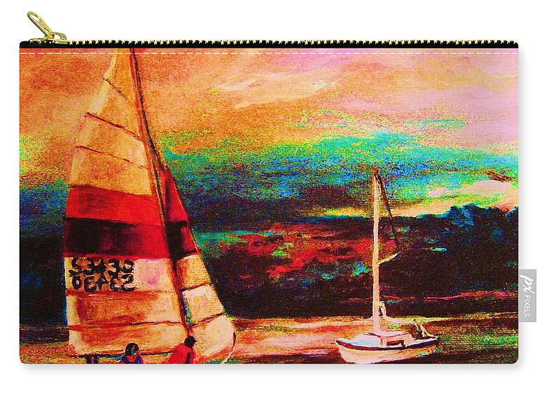 Sailing Carry-all Pouch featuring the painting Red Sails In The Sunset by Carole Spandau