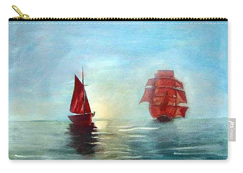 Sail Ship Carry-all Pouch featuring the painting Red Sails In The Sunset by Richard Le Page