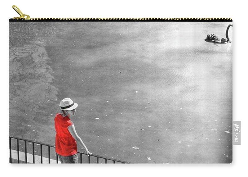 Palmademallorca Carry-all Pouch featuring the photograph Red Shirt, Black Swanla Seu, Palma De by John Edwards