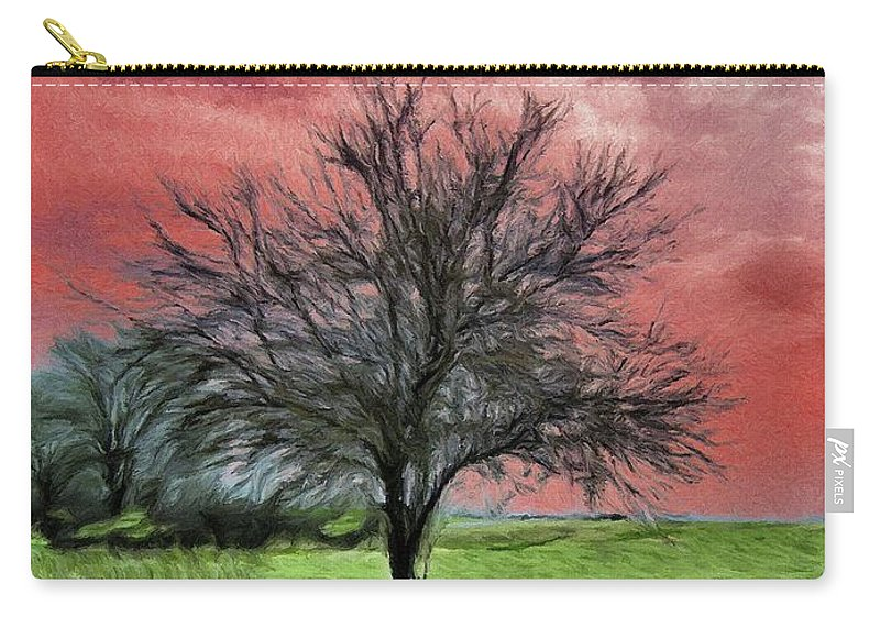 Red Carry-all Pouch featuring the painting Red Sky by Jeffrey Kolker
