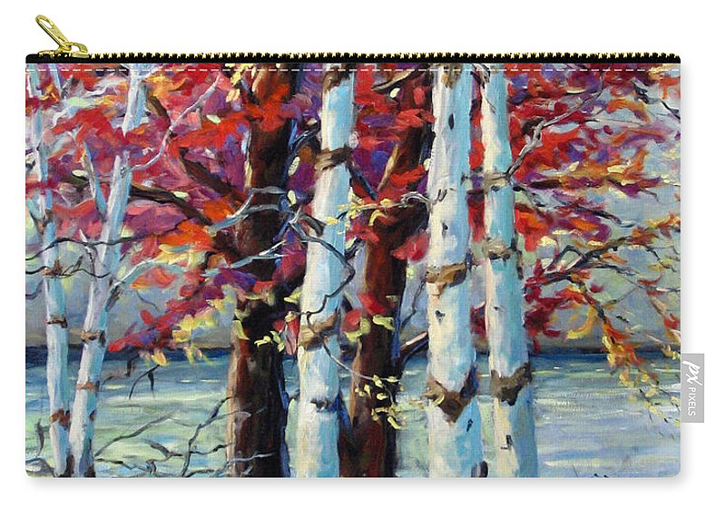 Birches Carry-all Pouch featuring the painting Red Splash by Richard T Pranke