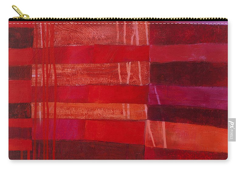 Abstract Art Carry-all Pouch featuring the painting Red Stripes 2 by Jane Davies