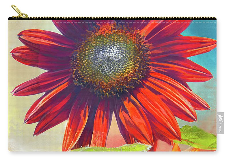 Helianthus Carry-all Pouch featuring the photograph Red Sunflowers At Sundown by Regina Geoghan