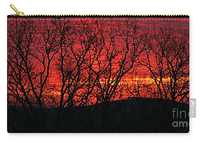 Sunrise Carry-all Pouch featuring the photograph Red Sunrise Over The Ozarks by Nadine Rippelmeyer