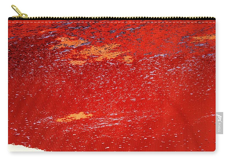 Red Carry-all Pouch featuring the photograph Red Surf On The Beach by Ian MacDonald