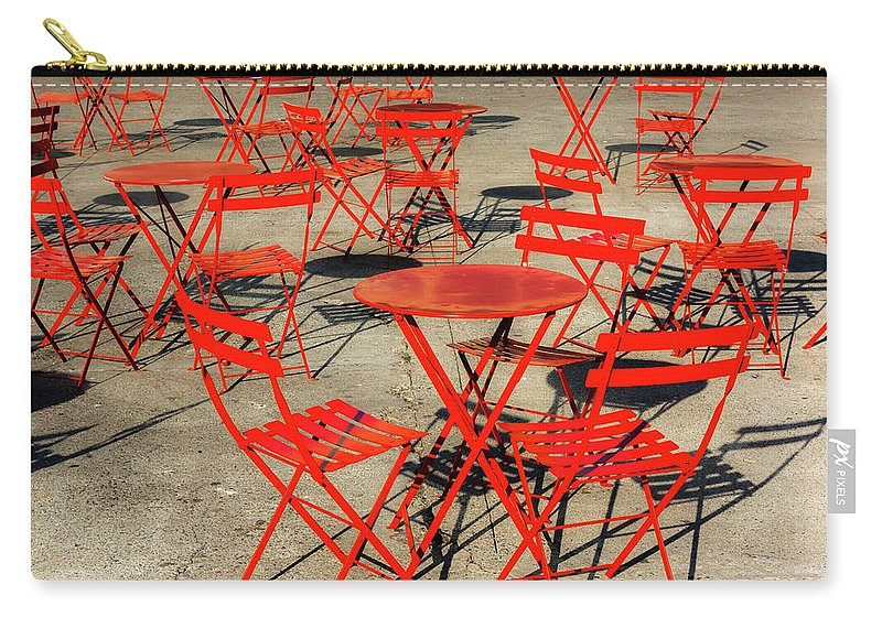 Landscape Carry-all Pouch featuring the photograph Red Tables And Chairs by Javier Flores