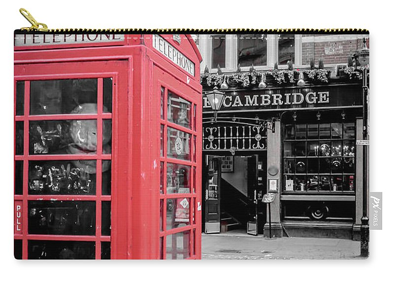 Red Carry-all Pouch featuring the photograph Red Telephone Box by Arild Lilleboe
