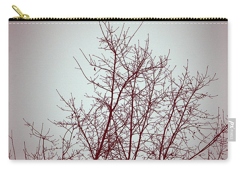 Fog Carry-all Pouch featuring the photograph Red Tree by Kathy Barney