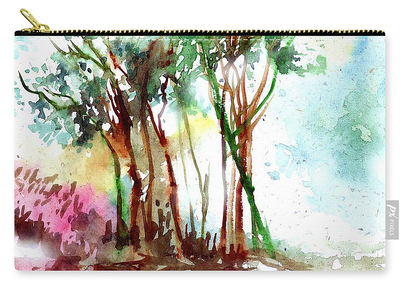 Landscape Carry-all Pouch featuring the painting Red Trees by Anil Nene