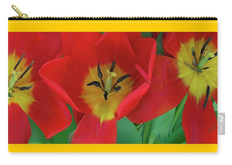 Tulip Carry-all Pouch featuring the photograph Red Tulip Trio by Ben and Raisa Gertsberg