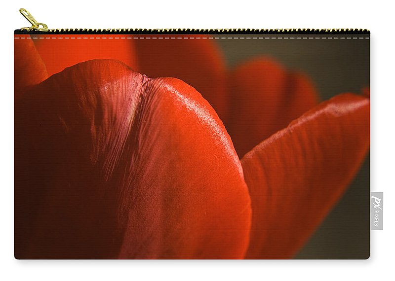 Tulip Carry-all Pouch featuring the photograph Red Tulip Up Close by Teresa Mucha