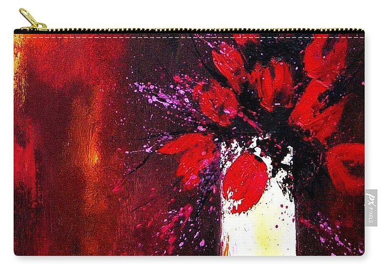 Flowers Carry-all Pouch featuring the painting Red Tulips by Pol Ledent