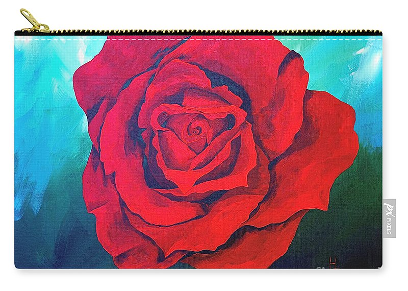 Red Rose Deep Red Rose 3d Ice Rose Carry-all Pouch featuring the painting Red Velvet by Herschel Fall