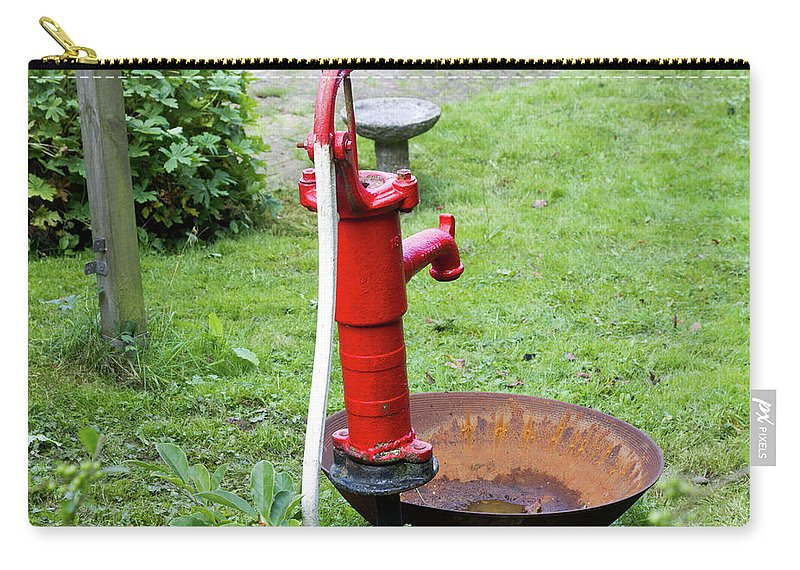 Bright Carry-all Pouch featuring the photograph Red Water Pump by Bernard Barcos