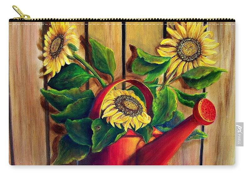 Sunflowers Carry-all Pouch featuring the painting Red Watering Can With Sunflowers. Sold by Susan Dehlinger