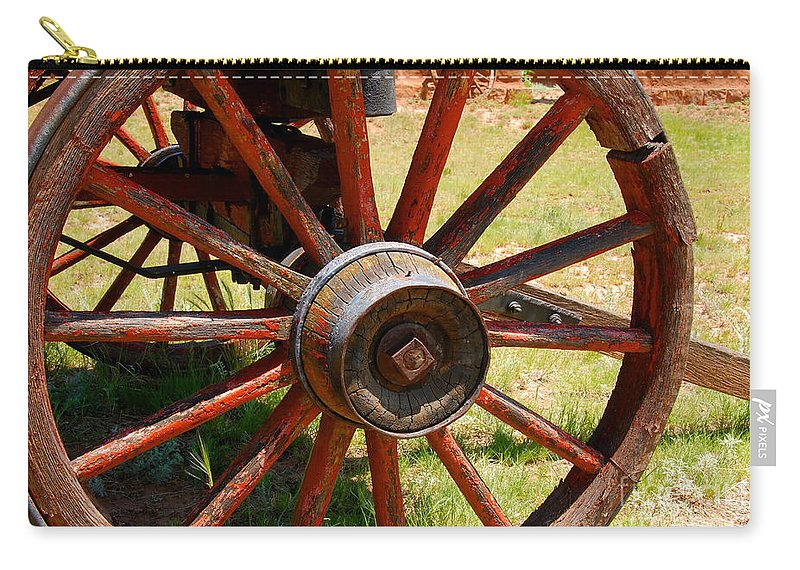 Wagon Carry-all Pouch featuring the photograph Red Wheels by David Lee Thompson