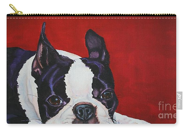 Boston Terrier Carry-all Pouch featuring the painting Red White And Black by Susan Herber