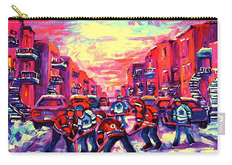 Hockey Game Carry-all Pouch featuring the painting Red White And Blue by Carole Spandau