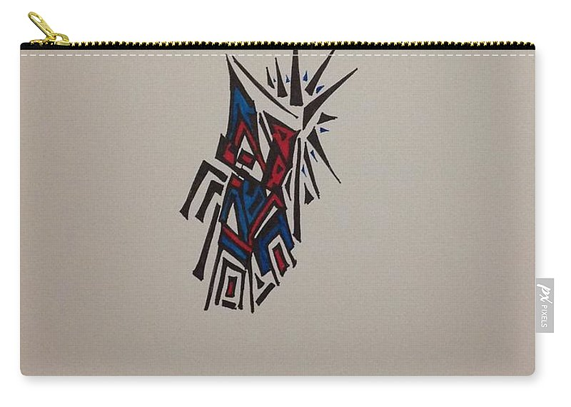 Abstract Carry-all Pouch featuring the drawing Red, And Blue by D Wood