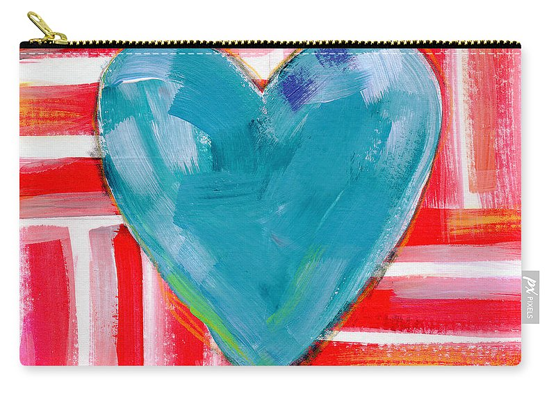 Heart Carry-all Pouch featuring the painting Red White and Blue Love- Art by Linda Woods by Linda Woods