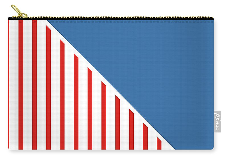 Red Carry-all Pouch featuring the digital art Red White And Blue Triangles by Linda Woods