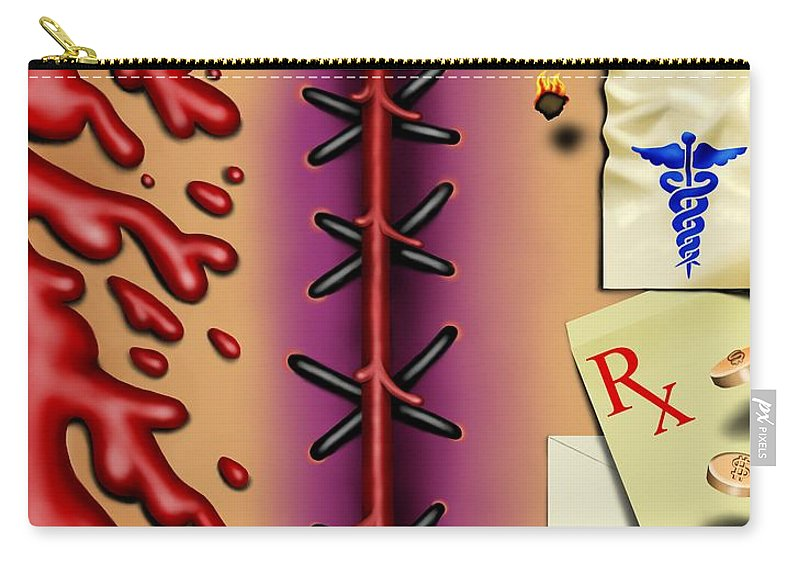 Surrealism Carry-all Pouch featuring the digital art Red White And Bruised I by Robert Morin