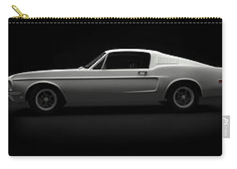 Blue Carry-all Pouch featuring the digital art Red White Blue Mustang by Brainwave Pictures